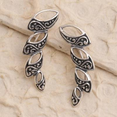 Sterling silver ear climber earrings, 'Climbing Marquise' - Hand Made Sterling Silver Climbing Earrings from Bali