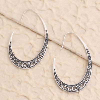 Sterling silver drop earrings, 'Balinese Snare' - Hand Made Sterling Silver Drop Earrings from Bali
