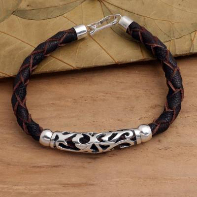 Sterling silver and leather pendant bracelet, 'Fire Spirit' - Brown Leather and Sterling Silver Bracelet
