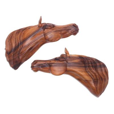 Pair of Handcarved Suar Wood Horse Heads Wall Sculptures