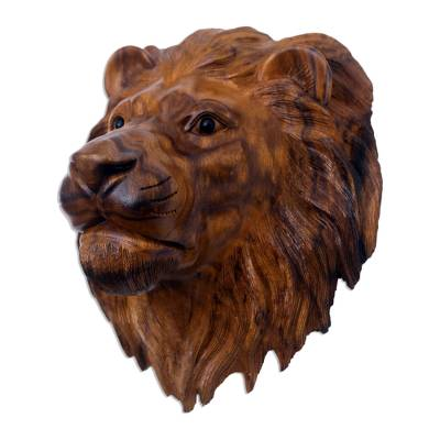 Suar Wood Lion Head Wall Sculpture with Onyx Eyes