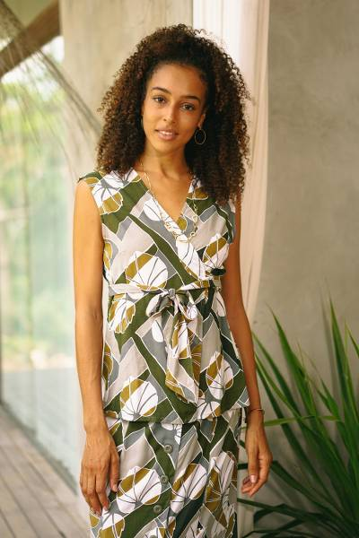 Rayon wrap blouse, 'Garden Party' - Handmade Leaf-Themed Rayon Wrap Blouse from Bali