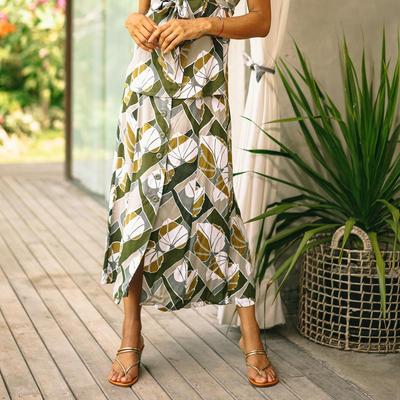 Rayon midi skirt, 'Garden Party' - Hand Made Leaf-Themed Rayon Midi Skirt