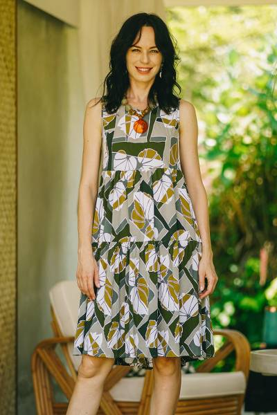 Rayon sundress, 'Garden Party' - Hand Crafted Leaf-Themed Rayon Sundress from Bali