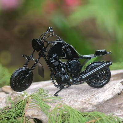 Recycled metal sculpture, 'Moto Racer in Black' - Recycled Metal Black Motorbike Sculpture
