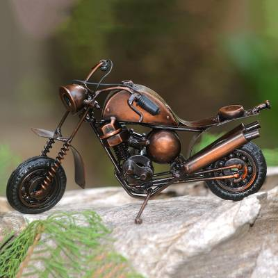 Recycled metal sculpture, 'Moto Racer in Brown' - Handmade Recycled Metal Motorcycle Sculpture