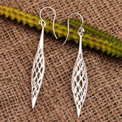 Sterling silver dangle earrings, 'Bubu Fish' - Open Weave Sterling Silver Dangle Earrings