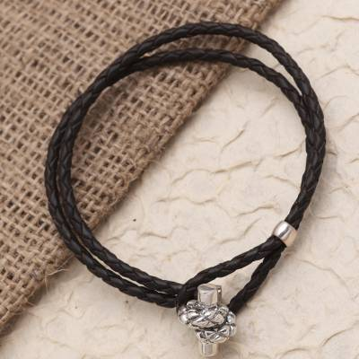 Sterling silver and leather cord bracelet, 'Knot Clasp' - Leather Cord Bracelet with Sterling Silver Knot Toggle