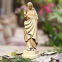Wood sculpture, 'Welcoming Christ' - Hand Carved Acacia Wood Jesus Christ Sculpture