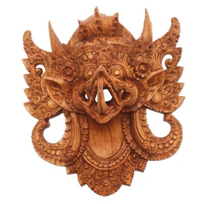 Wood mask, 'Mighty Eagle Garuda' - Hand Carved Suar Wood Eagle Garuda Mask from Bali