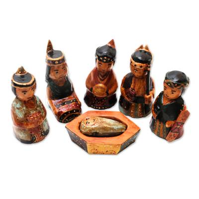 Borneo Style Wood Nativity Scene (6 Pieces)