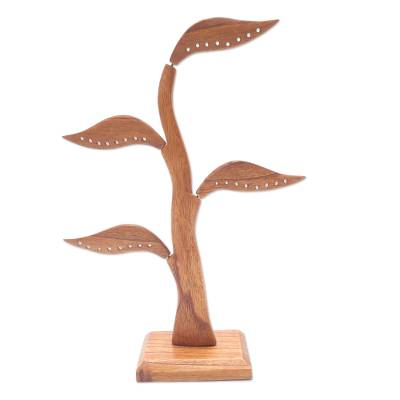 Wood jewelry holder, 'Daun Salam in Brown' (14 inch) - Carved Jempinis Wood Leaf-Themed Jewelry Holder (14 Inch)