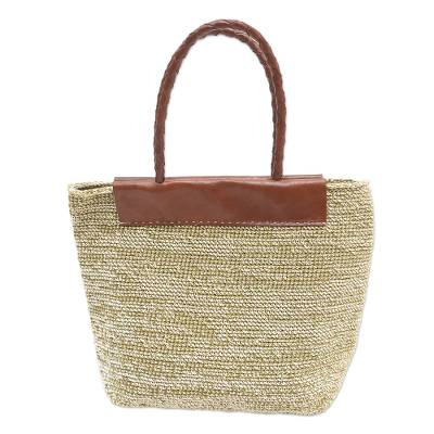 Hand Crafted Cotton and Leather Tote Bag from Bali