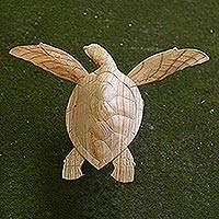 Wood sculpture, 'Giant Swimming Turtle' - Hand Made Jempinis Wood Giant Turtle Sculpture