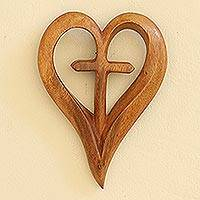 Wood wall relief panel, 'Cross My Heart'