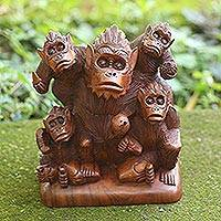 Wood sculpture, 'Monkey Family' - Hand Carved Suar Wood Monkey Family Sculpture