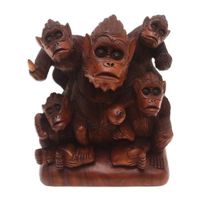 Hand Carved Suar Wood Monkey Family Sculpture