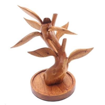 Wood jewelry stand, 'Giving Tree' - Hand Carved Wood Tree Jewelry Stand