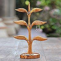 Wood jewelry stand, 'Tall Tree'