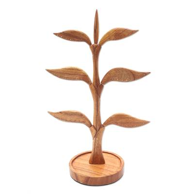 Wood jewelry stand, 'Tall Tree' - Hand Carved Wood Tree Jewelry Stand