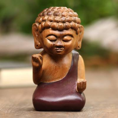 Wood statuette, 'Buddha in Brown' - Indonesian Hand Carved Suar Wood Buddha Statuette