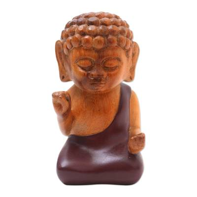 Indonesian Hand Carved Suar Wood Buddha Statuette