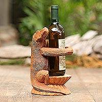 Wood wine holder, 'Crocodile Hug' - Signed Suar Wood Crocodile Wine Holder from Bali