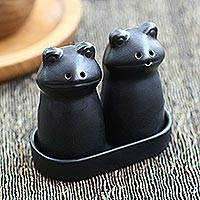 Ceramic salt and pepper set, 'Fanciful Frogs in Black' - Matte Black Ceramic Frog Salt and Pepper Shakers with Tray