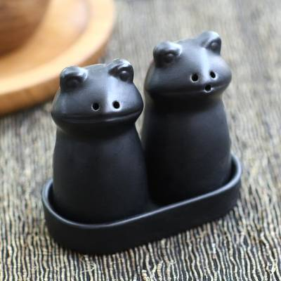 Ceramic salt and pepper set, Fanciful Frogs in Black