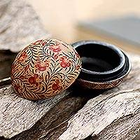 Wood batik decorative box, 'Batik Circle' - Balinese Round Wood Batik Decorative Box