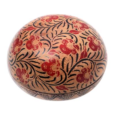 Wood batik decorative box, 'Batik Circle' - Balinese Round Wood Batik Decorative Box