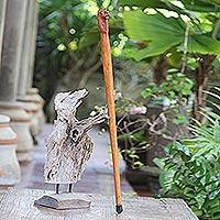 Mahogany wood walking stick, 'Lion Head' - Hand Made Mahogany Wood Lion Walking Stick