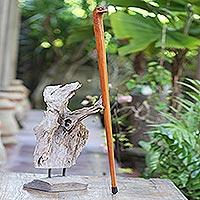 Mahogany wood walking stick, 'Eagle Head' - Handmade Mahogany Wood Eagle Walking Stick