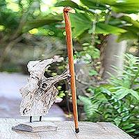 Mahogany wood walking stick, 'Duck Head' - Hand Carved Mahogany Wood Duck Walking Stick