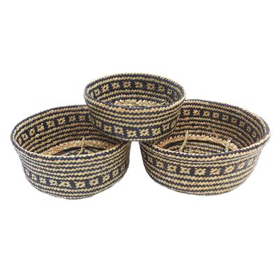 Artisan Crafted Natural Fiber Baskets (Set of 3)