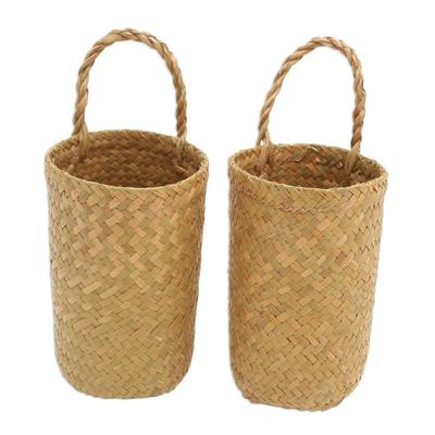 Hand Woven Natural Fiber Baskets from Bali (Pair)