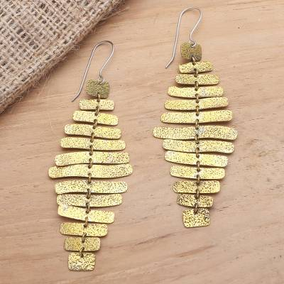Brass dangle earrings, 'Horizontal Bars in Yellow' - Balinese Brass Dangle Earrings on Stainless Steel Hooks