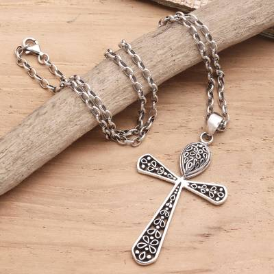 Sterling silver pendant necklace, 'My Salvation' - Handcrafted Sterling Silver Cross Pendant Necklace