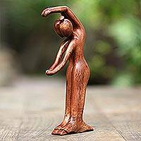 Wood statuette, 'Dancing for Eternity' - Handmade Suar Wood Statuette from Bali