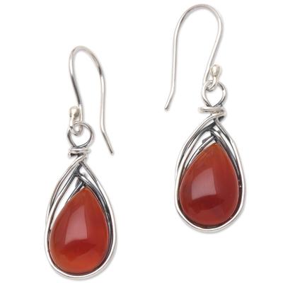 Carnelian and Sterling Silver Dangle Earrings