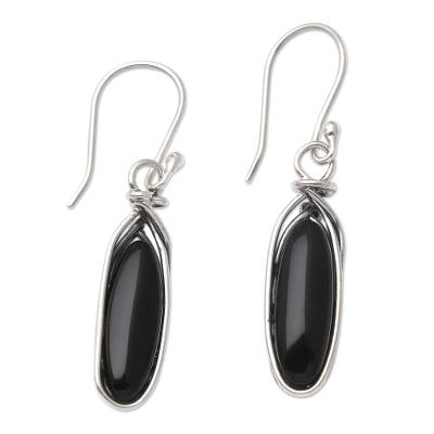 Onyx and Sterling Silver Dangle Earrings