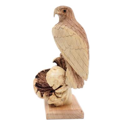 Artisan Crafted Suar Wood Eagle Sculpture