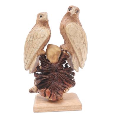 Hand Carved Suar Wood Eagle Sculpture