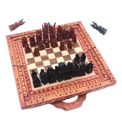 Folding Crocodile Wood Chess Set from Bali