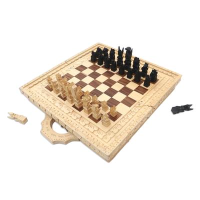 Hand Carved Crocodile Wood Chess Set