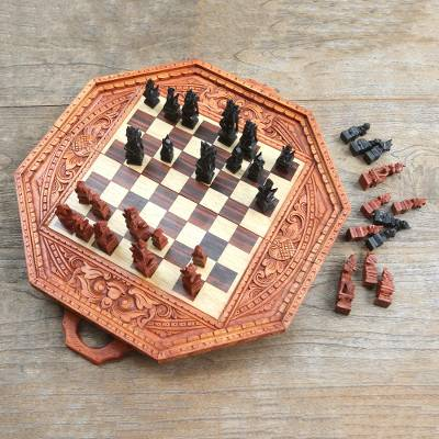 Wood chess set, 'Barong Challenge' - Hand Crafted Folding Wood Chess Set