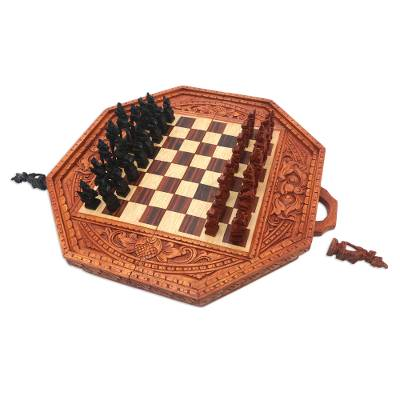 Hand Crafted Folding Wood Chess Set