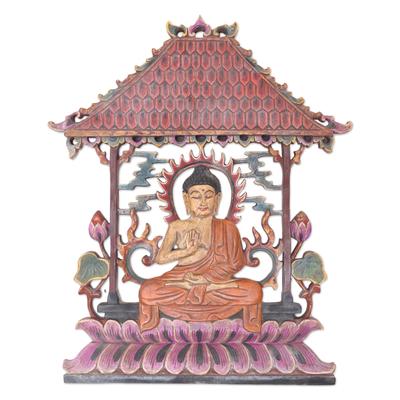 Buddha-Themed Suar Wood Relief Panel