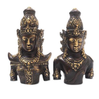 Hand Made Rama and Sita Bronze Sculptures (Pair)