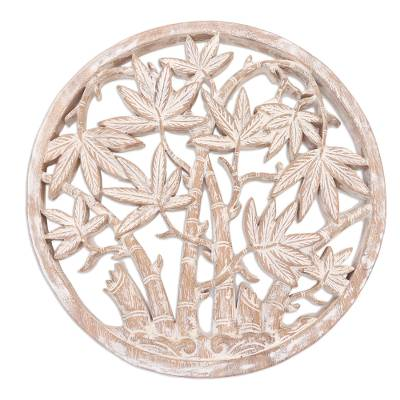 Wood relief panel, 'Rounded Bamboo' - Circular Suar Wood Relief Panel